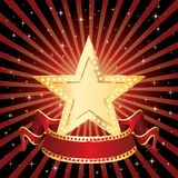 Star display rays. Blank golden movie star in starry night Royalty Free Stock Images