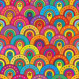 Star door colorful half circle seamless pattern. This illustration is is design half circle abstract pop up with star in colorful background and symmetry Stock Photo