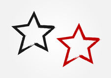 Star drawn by hand with a rough brush. Grunge, sketch, graffiti. Vector illustration. Black and red isolated symbol vector illustration