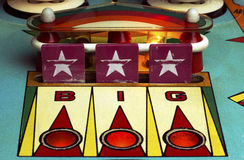 Star drop targets of a retro pinball machine Royalty Free Stock Photography