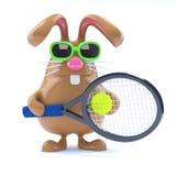 star du tennis de lapin de 3d Pâques illustration stock
