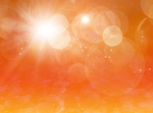Star dust magical background. Magical background with sparkles, bokeh and star dust, orange gold colors Royalty Free Stock Images