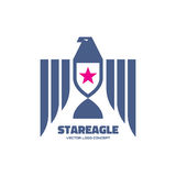 Star eagle - logo template classic graphic style for business company. Bird with wings sign illustration. USA symbol. Royalty Free Stock Images