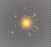 Star em um fundo transparente, efeito da luz, ilustração do vetor explosão com sparkles Imagens de Stock
