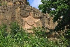 Star em uma rocha com inscrição no alemão Kislovodsk, Rússia Foto de Stock