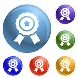 Star emblem icons set vector vector illustration