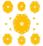 Star emblems sign set gold color Stock Photography