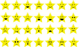 Star Emoticons. Collection with different emotions Royalty Free Stock Photo