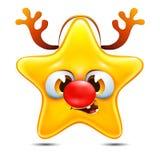 Star emotion with reindeer horns. Cartoon star emotion with reindeer horns Royalty Free Stock Image