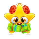 Star emotion in a scarf. Cartoon star emotion in a scarf and furry earmuffs Royalty Free Stock Images