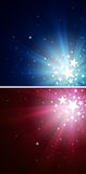 Star Explosion. Two designs of star explosion in blue and red Royalty Free Stock Photography