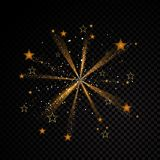 Star explosion Gold glittering dust trail sparkling particles on transparent background. Space comet tail. Vector. Gold glittering star explosion dust trail Stock Photo