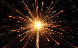 Star explosion with particles. Illustration Stock Photos