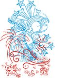 Star face. Stars consisting of flowers, palm print themed graphics stock illustration