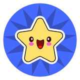 Star face emoticon cute kawaii character. On blue circle. Royalty Free Stock Photography