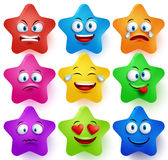 Star faces vector set with colors and facial expressions Stock Photography