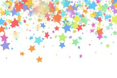 Star falling confetti background. Green, red, yellow,pink star confetti on white background. Flying shiny sparkle shower. Abstract vector colorful confetti vector illustration