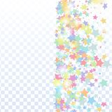 Star falling confetti background. Multicolored star confetti isolated on transparent background. Flying shiny sparkle particles. Holiday vector colorful royalty free illustration