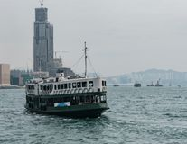 Star ferry boat dock at the pier from Victoria Harbor royalty free stock image