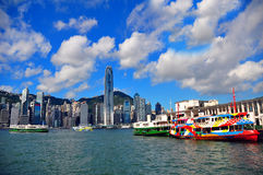 The star ferry, hong kong. A look at the star ferry located at tsim sha tsui, kowloon island and the hong kong island in the background stock photography