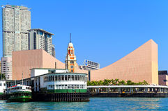 Star ferry and hong kong space museum royalty free stock images