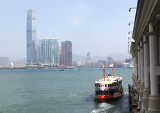 Star Ferry leaving pier in Central. Hong Kong Royalty Free Stock Images