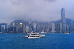 Star Ferry ship crosses the Victoria Harbor. In Hong Kong Stock Photography