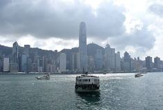 Star ferry at Victoria Harbor in Hong Kong stock photo