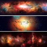 Star Field Banners. Abstract imaginary deep space nebula banners with planets and asteroids Stock Image