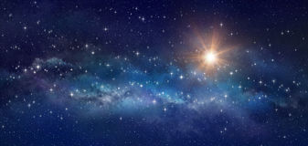 Star field in outer space. Galaxy panoramic, bright stars shining in a milky way - High definition background Stock Photo