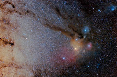 Star field and the Rho Ophiuchi nebula Royalty Free Stock Images