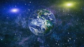 Star Field Showing Night Sky With Stars and Nebula. View of Earth From Space. Elements of this image furnished by NASA. Planet Earth. Eastern hemisphere. This Royalty Free Stock Photos
