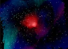 Star field in space and a nebulae. Abstract background of universe and a gas congestion. Spiral galaxy space with black holes. Vector nebula, for use with Royalty Free Stock Photo