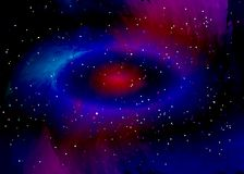 Star field in space and a nebulae. Abstract background of universe and a gas congestion. Spiral galaxy space with black holes. Vector nebula, for use with Royalty Free Stock Image