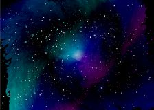 Star field in space and a nebulae. Abstract background of universe and a gas congestion. Spiral galaxy space with black holes. Vector nebula, for use with royalty free illustration