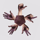 Star Figure with five Hands Stock Photo