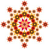 Star filigree orange. Big star made of various smaller stars and patterns Stock Image