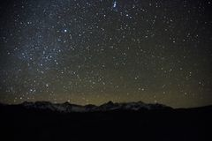 Star filled sky over San Juan Mountains shot in night of  SW Col. OCTOBER 23, 2017  -Star filled sky over San Juan Mountains shot in night of  SW Colorado Royalty Free Stock Images