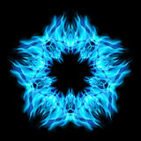 Star fire. Fire star  in cyan color. Black background Stock Photography