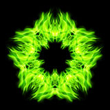 Star fire. Fire star  in green color. Black background Royalty Free Stock Photos