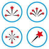 Star Fireworks Rounded Vector Icons. Star Fireworks rounded icons. Vector illustration style is a flat iconic symbols inside blue circles. Designed for web and Stock Photography