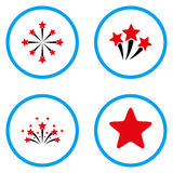 Star Fireworks Rounded Vector Icons. Star Fireworks rounded icons. Vector illustration style is a flat iconic symbols inside blue circles. Designed for web and Stock Photos