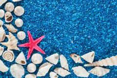 Star-fish and seashells on sand Stock Photos