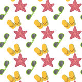 Star Fish And Sunglasses Seamless Pattern Vacation Concept Abstract Background Colorful Design. Vector Illustration Stock Images