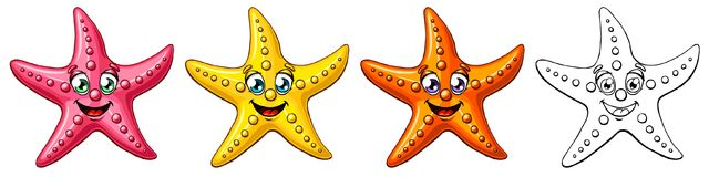 Star Fish three colorful and contour. Three cheerful cute starfishes of a pink-red, yellow, orange colors and black contour line on white background. A cartoon Stock Photos