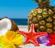Star fish and tropical fruits on the beach Royalty Free Stock Image