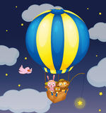 Star fishing. Illustration of animals in a balloon Royalty Free Stock Photography