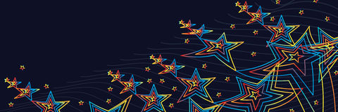 Star five color line start up banner. This illustration is design abstract star five colors line hope left darkness and try flying up bright the colorful but stock illustration