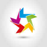 Star in five colors, painter and multimedia logo. Star in five colors, colored, painter and multimedia logo Stock Photography