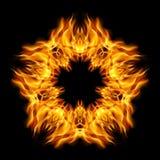 Star flame. Flame star   orange color of form star. Black background Royalty Free Stock Image